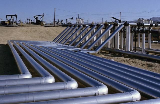 Rows of Pipes at a Natural Gas Pipeline