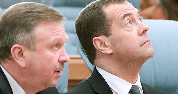 Премьер-министры РФ и Белоруссии - Медведев и Кобяков